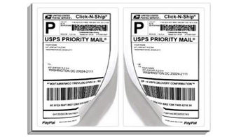 """2 Per Page Paypal ClickNShip Shipping Labels (Each Label 8.5""""x5.5"""")"""