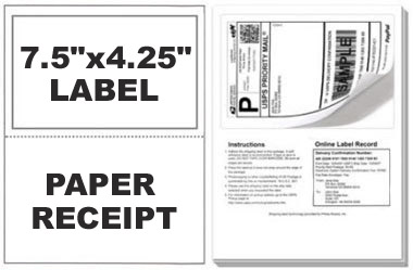 Paypal/Ebay ClickNShip Shipping Labels with Tear off Paper Receipt
